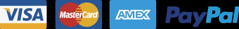 Visa, Mastercard, Amex, Paypal